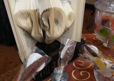 """I Do"" Folded Pages Book & Chocolate Feather ""Pens"""
