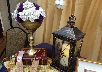 Gold Vase with Paper Flowers & Lantern