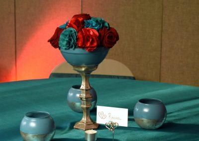 Silver & Teal Centerpieces for 25th Anniversary Vow Renewal