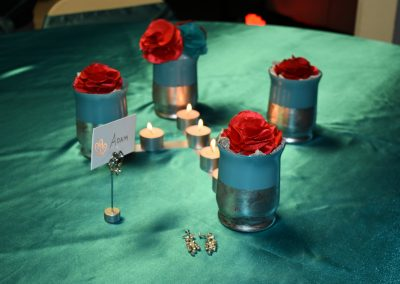 Teal & Silver Vases for Vow Renewal Reception