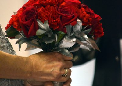 Red Flowers-Silver Accents for 25th Anniversary Vow Renewal