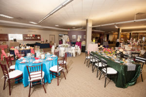 wedding rentals, Prime Time Party Rental, showroom, tables
